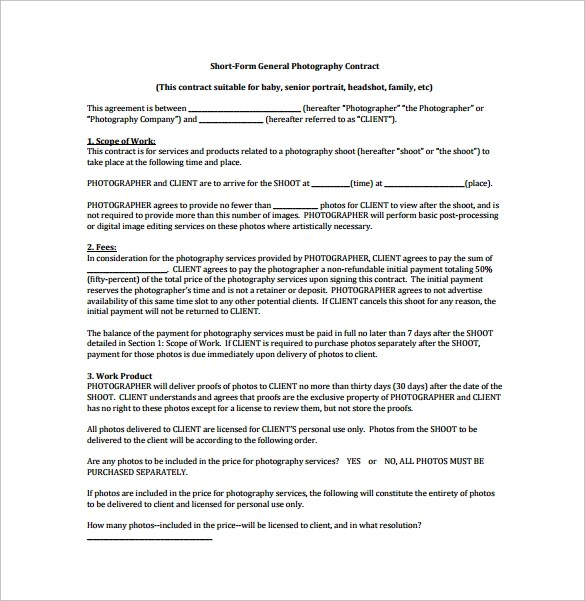 10 Photography Contract Templates PDF Word Pages