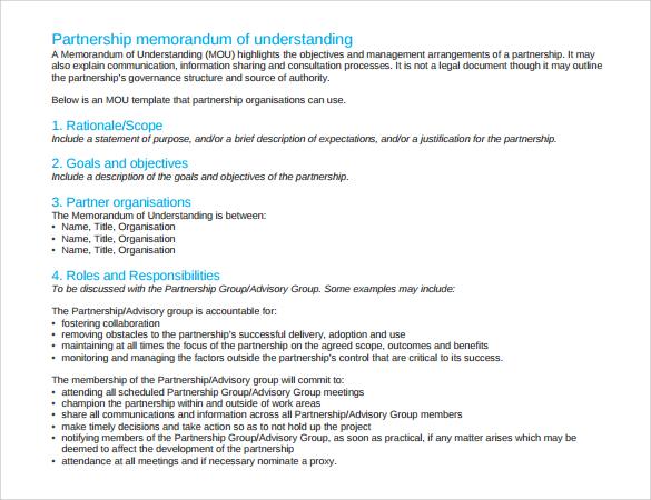 16 Sample Memorandum Of Understanding Templates To Download Sample Templates