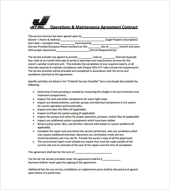 simple service contract agreement