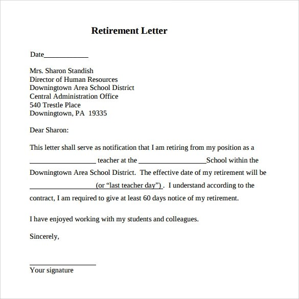 17 Sample Useful Retirement Letters to Download  Sample