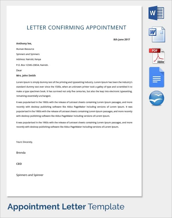 appointment letter format for it company
