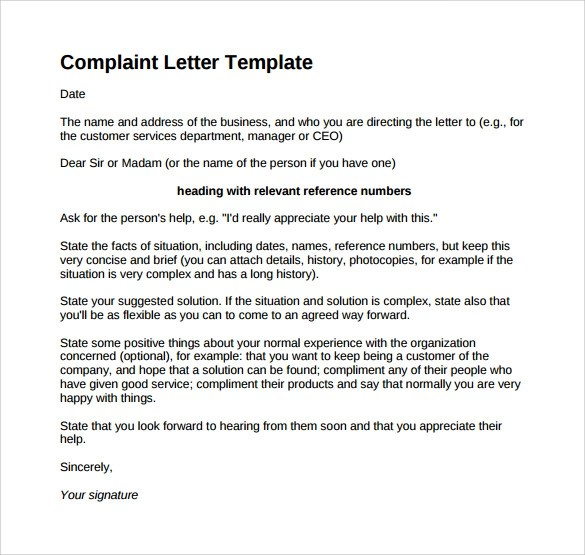 Complaint Letter Template Resume Blank Paper