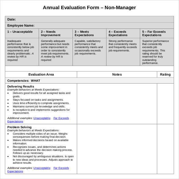 employee evaluation checklist template
