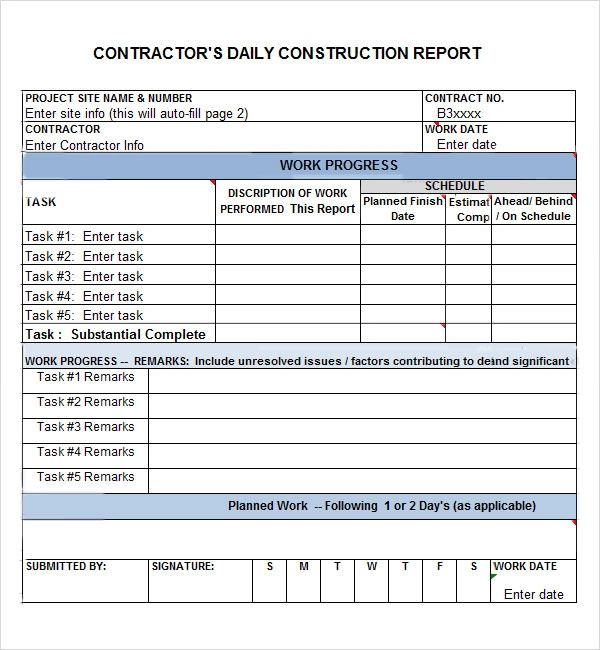 construction daily work report template