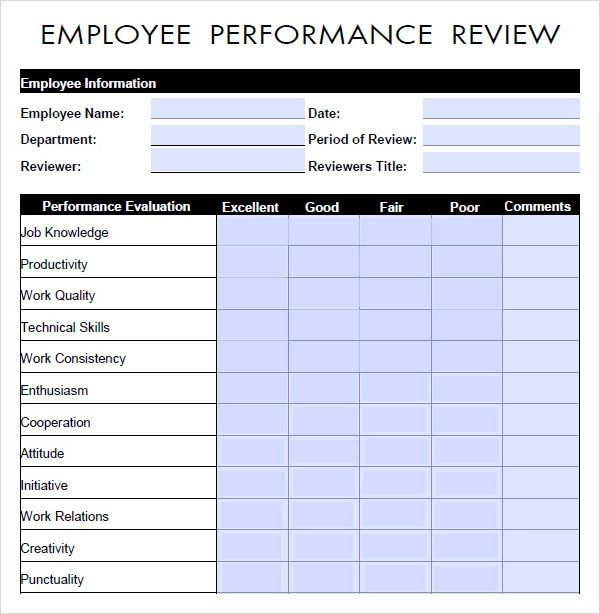 performance evaluation template word