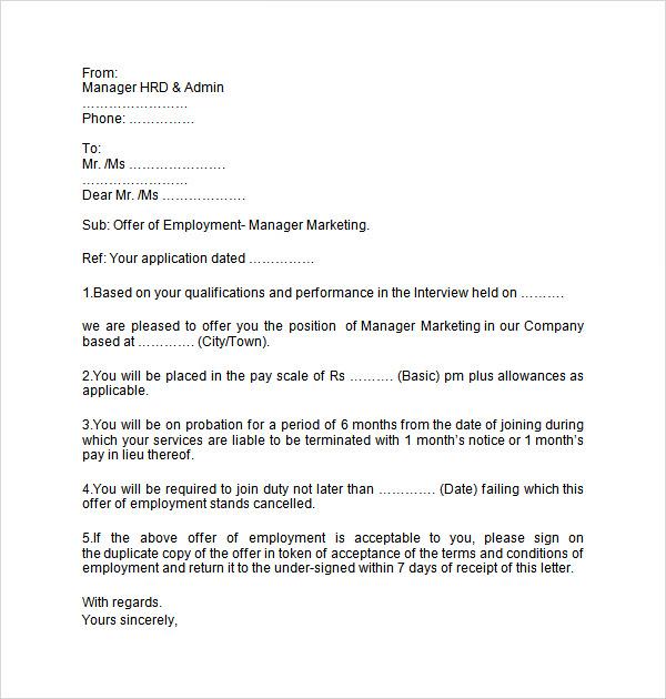offer letter job template employment employment letters - Sample Offer Of Employment Letters Employment Offer Letters Templates
