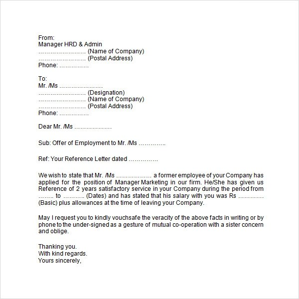 Sample Of Job Offer Letter For Immigration
