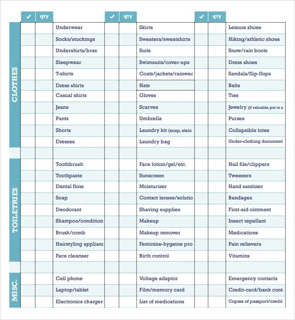 vacation packing checklist template
