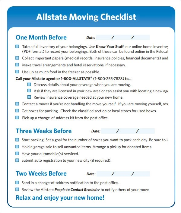 Moving Checklist  10 Download Free Documents in PDF Word