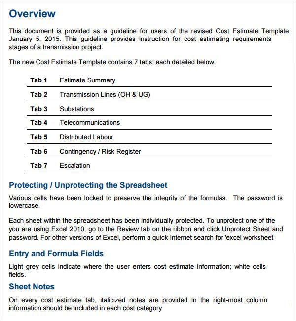 estimate document template
