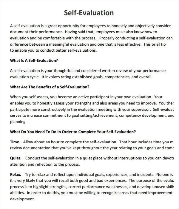 Self Evaluation Letter Sample  Docoments Ojazlink