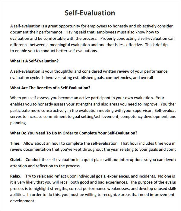 Employee Self Evaluation FormSelf Evaluation Free ParentTeacher – Self Evaluation