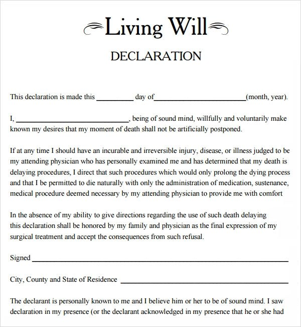 9+ Sample Living Wills  Pdf  Sample Templates