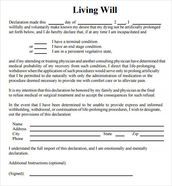 9+ Sample Living Wills  Pdf  Sample Templates