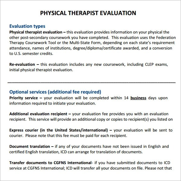 Physical Therapy Evaluation 7 Free Download For PDF