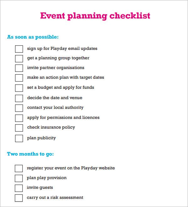 event planning checklist template