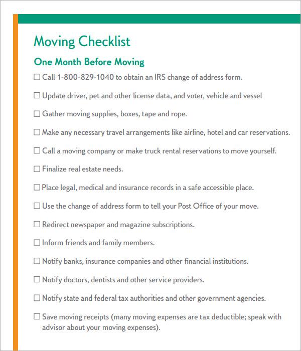 moving checklist timeline