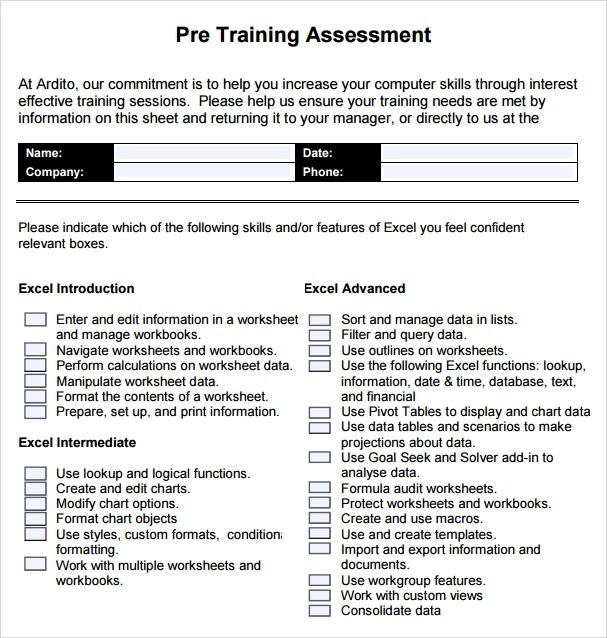 training assessment template - April.onthemarch.co