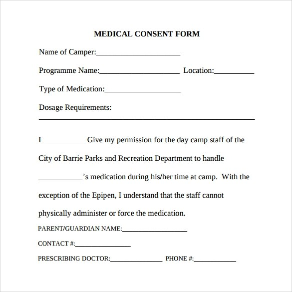 7 Sample Medical Consent Forms To Download Sample Templates