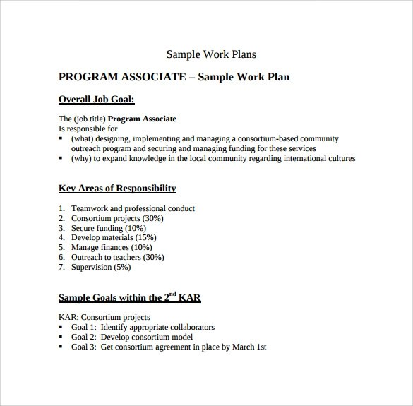 Work Plan Template  13 Download Free Documents for Word Excel PDF