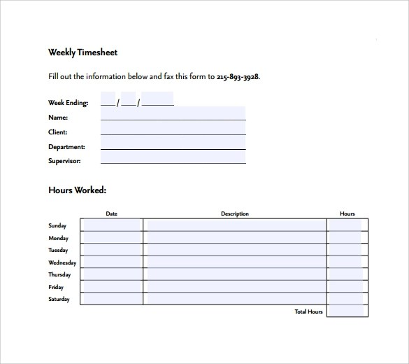15 Sample Weekly Timesheet Templates for Free Download | Sample ...