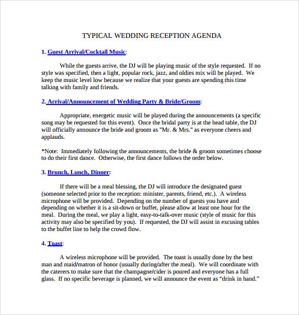 Wedding Agenda  9 Download Free Documents In PDF