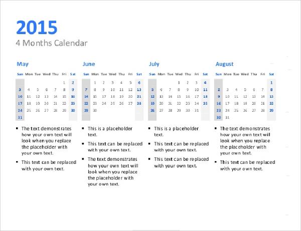Sample Quarterly Calendar Templates. Printable Quarterly Calendar ...