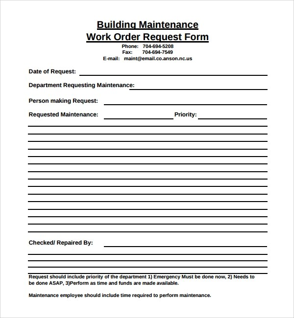 Tailor the form to include exactly what you need, our templates are just there to get you started. Free 8 Sample Maintenance Work Order Forms In Pdf