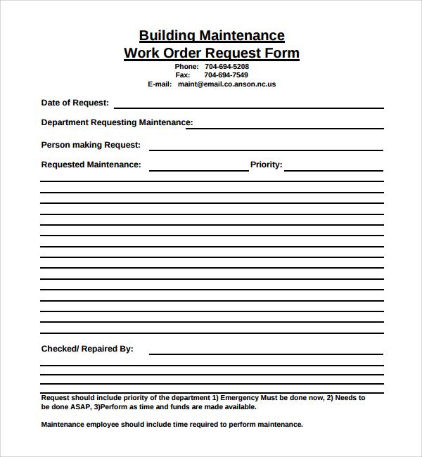 Sample Maintenance Work Order Forms In Pdf