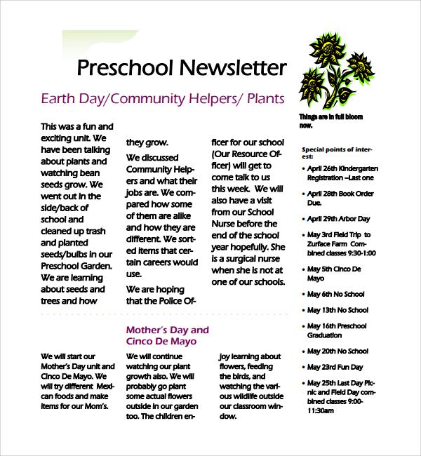 FREE 8+ Best Preschool Newsletter Templates in MS Word