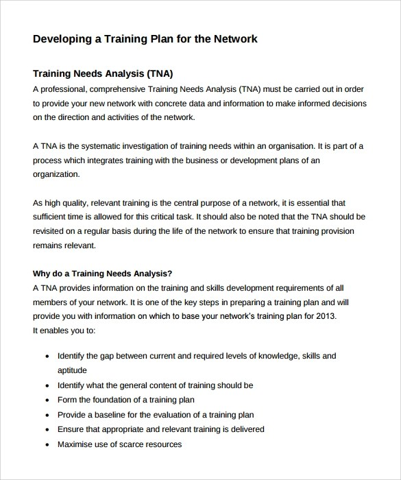 Sample Training Needs Analysis Template 10 Documents In