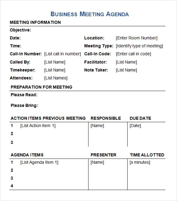 agenda for a business meeting