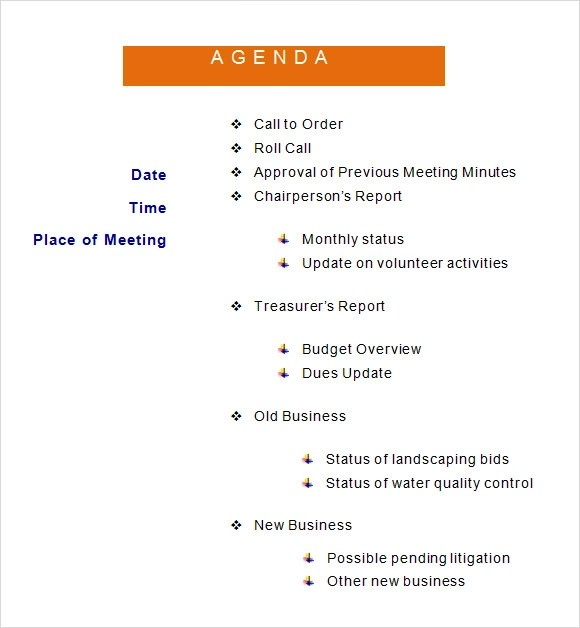 If you are using microsoft word 2016, you already have access to several useful meeting agenda templates. Free 6 Sample Agenda Templates In Ms Word Pdf