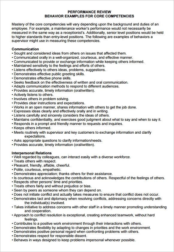 performance evaluation doc