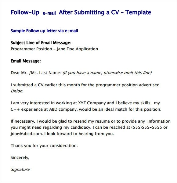 sample follow up email for resume submission