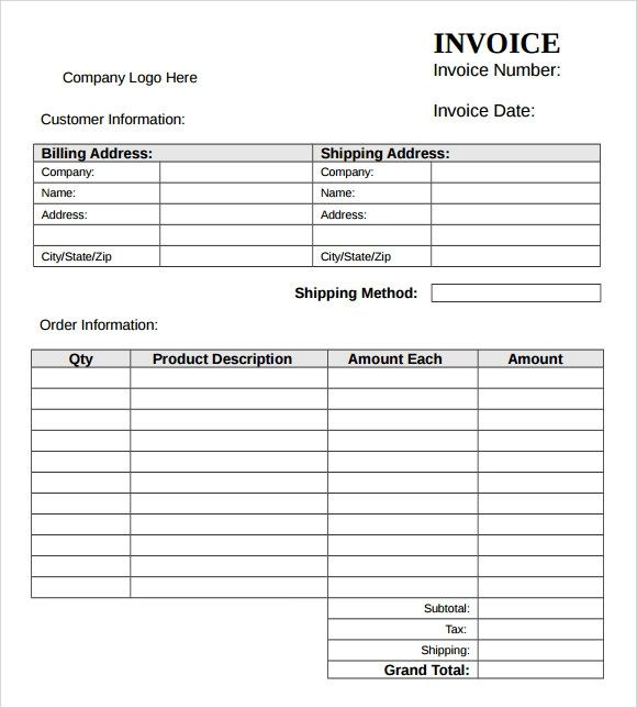 download invoice template