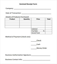 Itemized Receipt Template - 7 Free Download for PDF ...