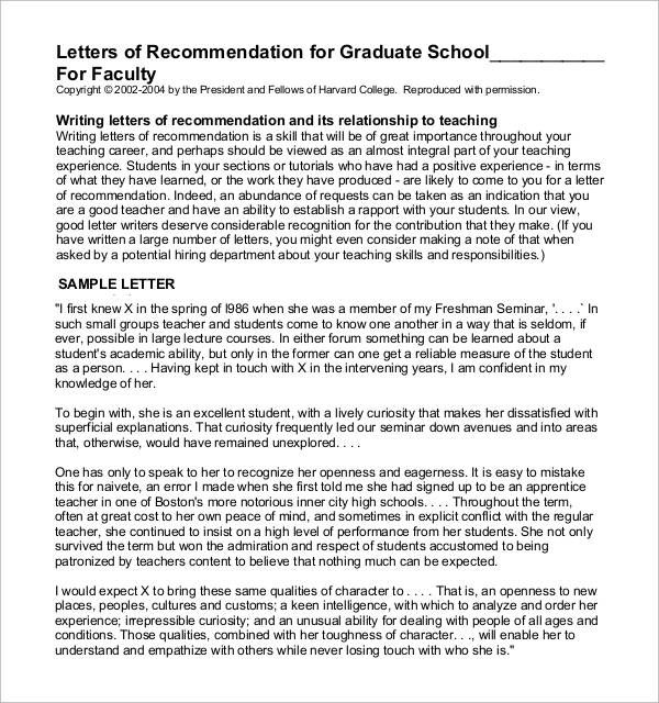 recommendation letter sample for graduate school