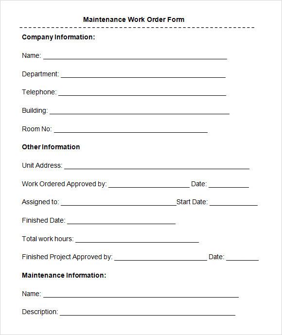 10+ sample construction change order forms sample forms. Free 8 Sample Maintenance Work Order Forms In Pdf