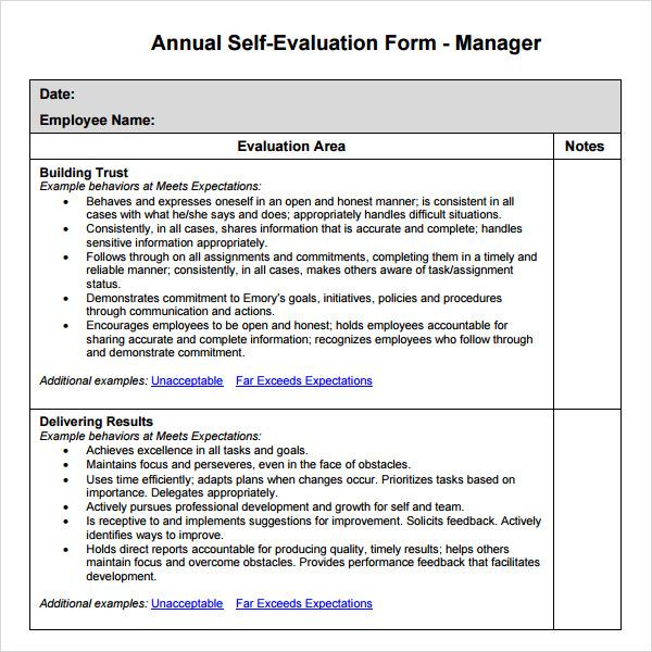 employee evaluations examples