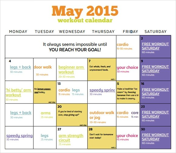 10 Sample Workout Calendar Templates to Download | Sample Templates