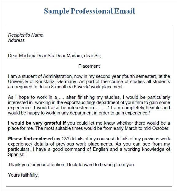 Professional Email – 7 Samples Examples Format