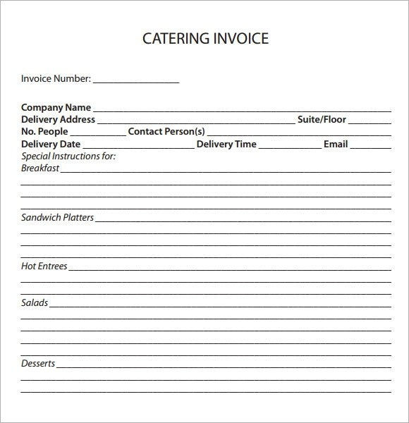 Catering Invoice Pdf Resume Objective For Personal Assistant