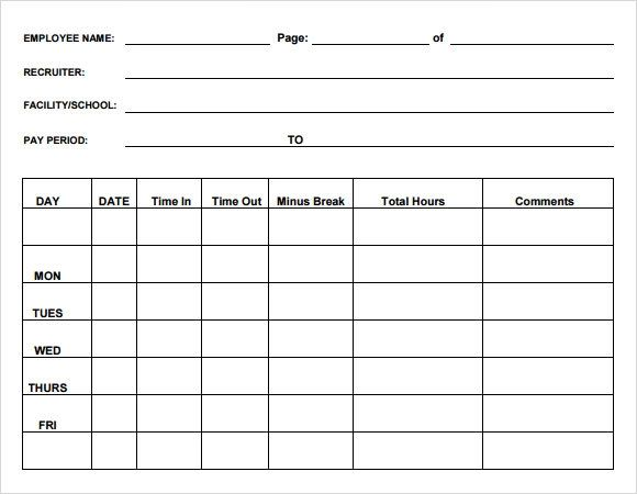 free printable monthly time sheets