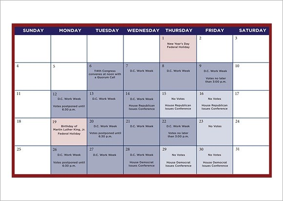 9 Sample Planning Calendar Templates to Download  Sample Templates