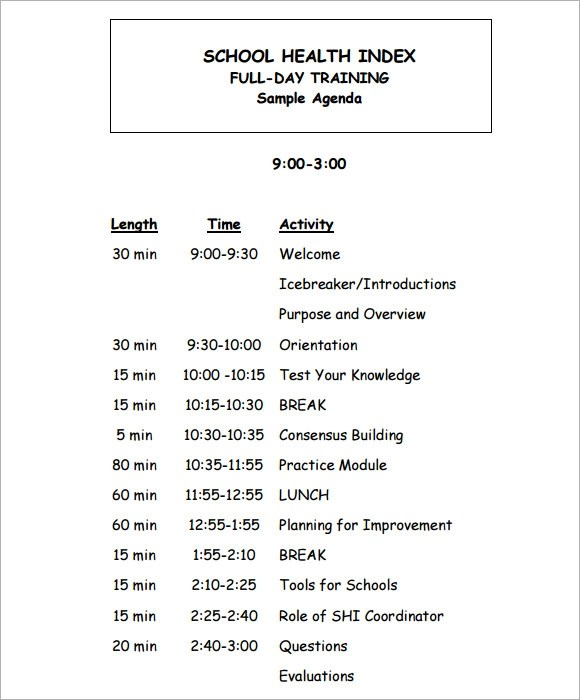 Training Agenda Template - 7+ Free Download for PDF