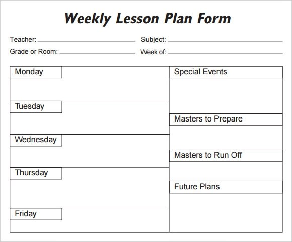 Weekly Lesson Plan - 8+ Free Download for Word, Excel, PDF ...