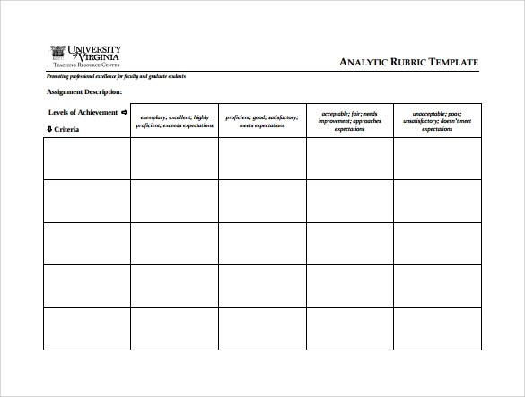 10 Blank Rubric Samples Sample Templates