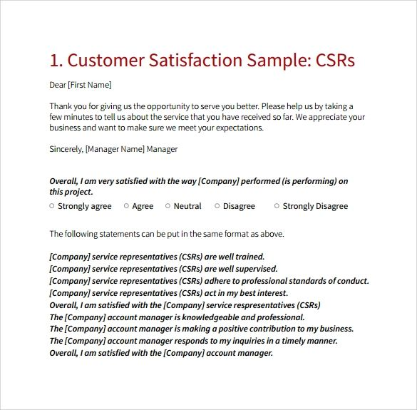 customer satisfaction survey template word