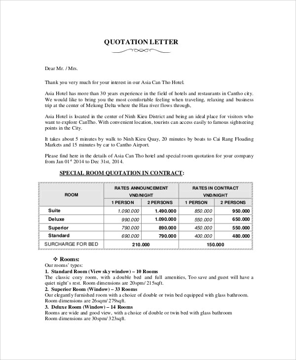 52 Quotation Templates DOC PDF Excel